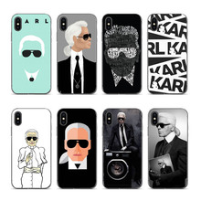 IMIDO karl lagerfeld Black Soft silicone Cover case For iPhone X XS XR XSMax 6 6PLUS 8 8plus 7 7plus 6s 6sPlus
