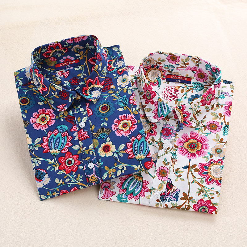 2018 Floral Women Blouses Long Sleeve Shirt Cotton Women Shirts Cherry Casual  Ladies Tops Animal Print Blouse Plus Size 5XL(China)