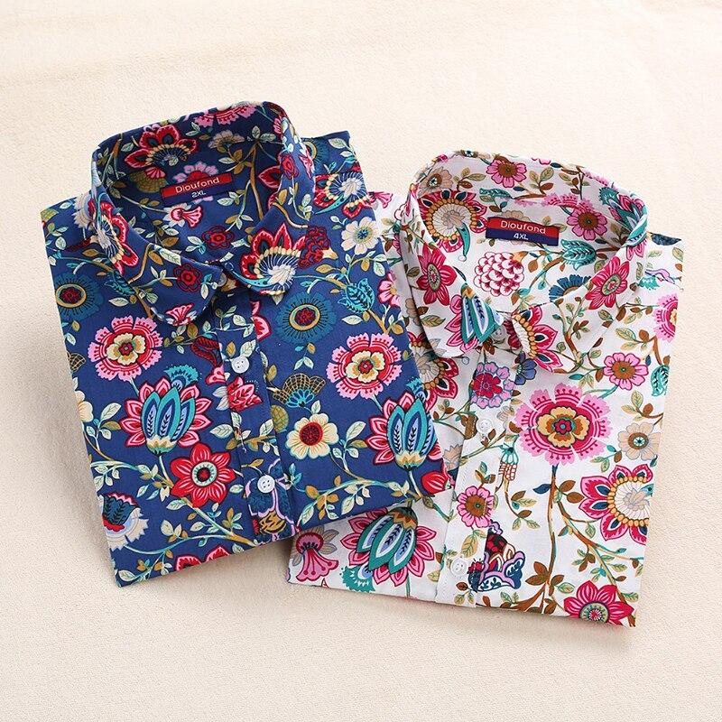 2018 Floral Frauen Blusen Langarm Hemd Baumwolle Frauen Shirts Kirsche Casual Damen Tops Animal Print Bluse Plus Größe 5XL