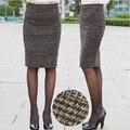 Nova nascidos outono e inverno roupas saias das mulheres do sexo feminino moda vintage magro quadril lã xadrez na altura do joelho-comprimento midi pencil saia