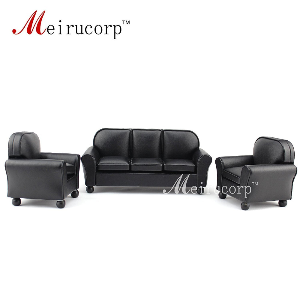 Dollhouse furniture 1/12 scale Miniature black leather Sofa and chair 3 pcs set new flower girl dress white ball gown kids pageant dress wedding appliques girls party dress birthday princess dresses aa202