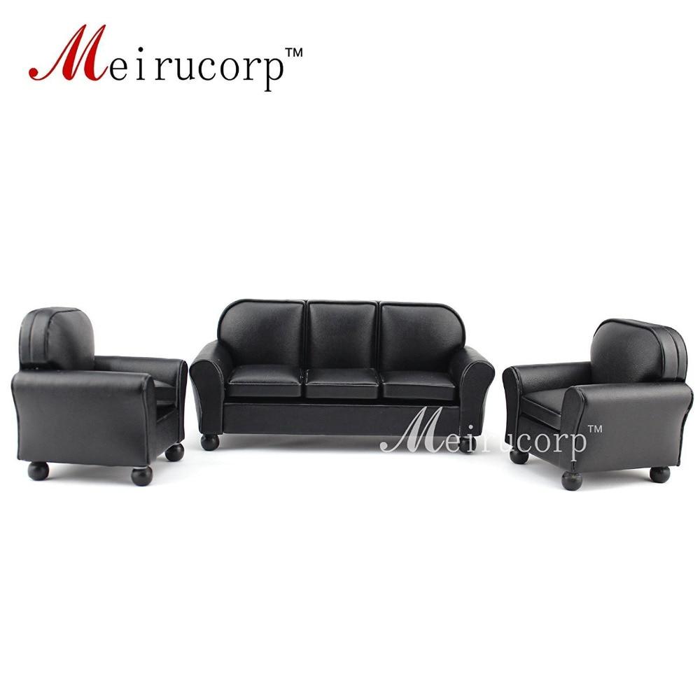 Meubles de maison de poupée 1/12 échelle Miniature noir Canapé et chaise en cuir 3 pcs ensemble