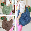 Big Fashion Bohemian Women Summer Floral Straw Bags Beach Tote Shoulder Bag Handbag New