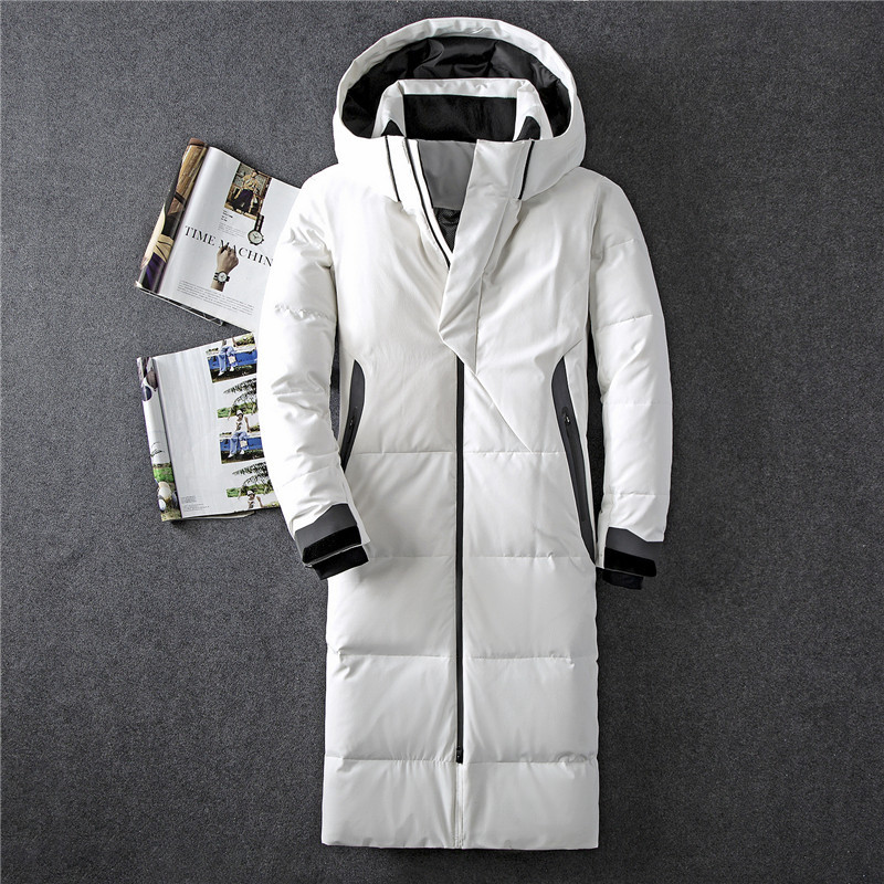 Mens Hooded Extra Long Duck Down Padded Jackets Man Thick Winter Down Coats Male Fashion Long Overcoat Warm Outerwear JK-8013