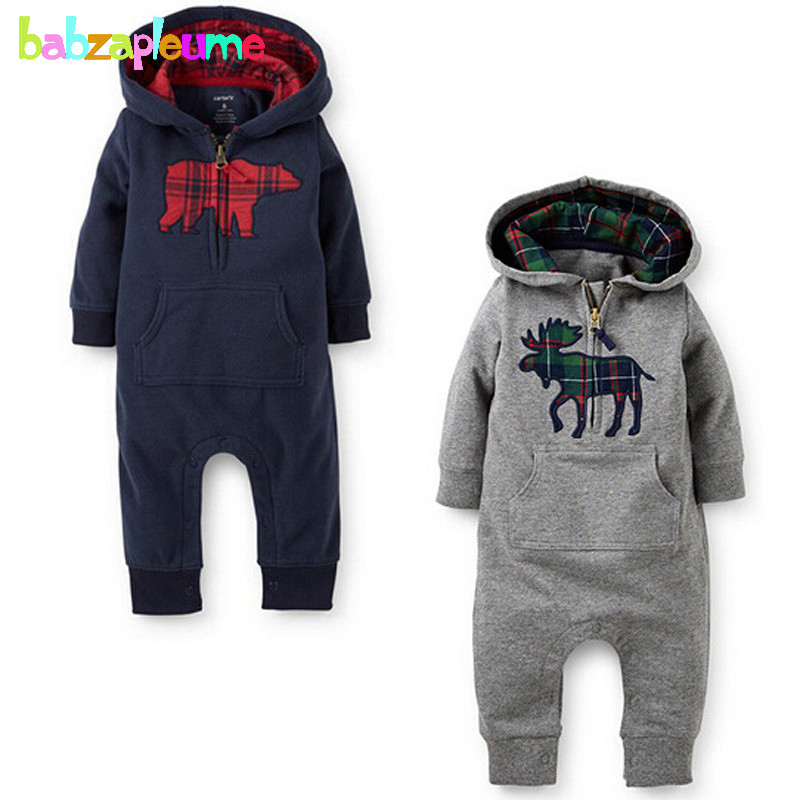 0-18Months/Spring Autumn Newborn Clothes Toddler Rompers Casual Hooded Long Sleeve Baby Boys Jumpsuit For Infant Clothing BC1062 baby hoodies newborn rompers boys clothes for autumn magical hooded romper long sleeve jumpsuit kids costumes girls clothing