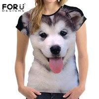FORUDESIGNS Cute 3D Husky Women T Shirt 2017 Brand Woman Summer T Shirt Crop Tops Dog