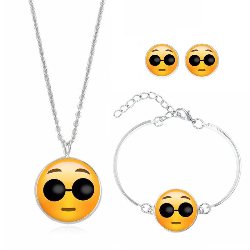 Maxi Statement Alloy Emoji Choker Necklace Earrings Bracelet Collar Pendant Fashion Sweater Chain Enamel Jewelry Set for Girls