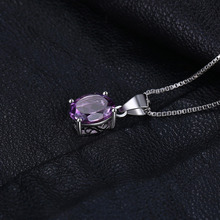 JewelryPalace Natural 1.7ct Amethyst Pendants Oval Cut Genuine Solid 925 Sterling Silver Fashion Purple Jewelry Wholesale