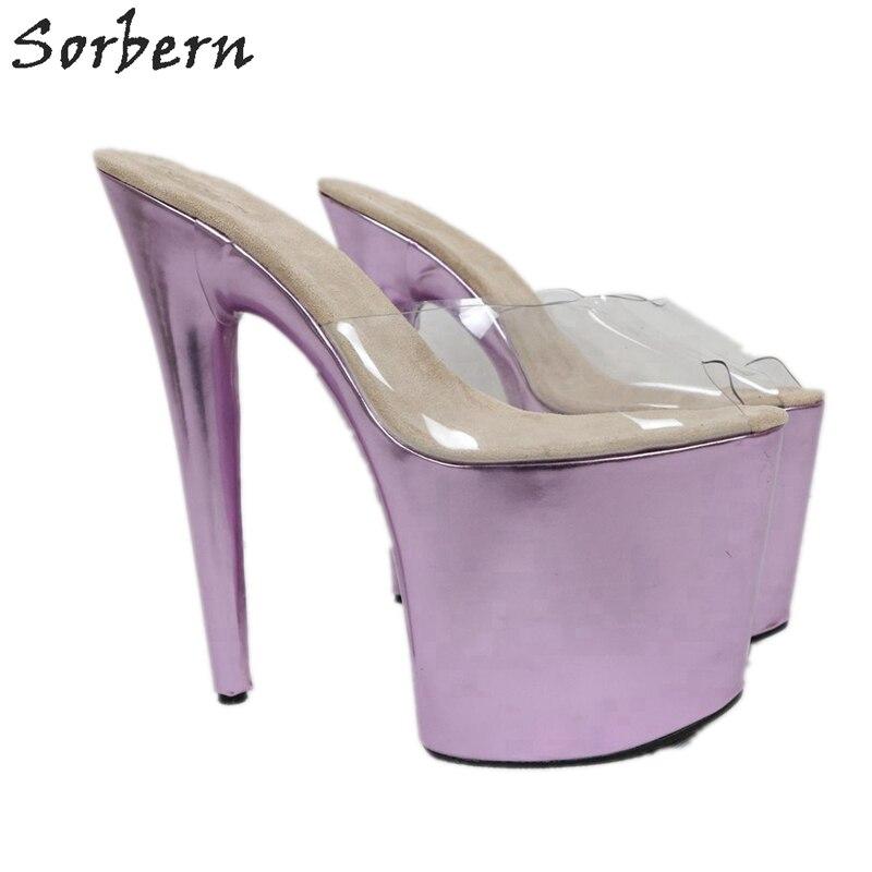 Sorbern 20Cm Extreme High Heel Slippers Women Slip On Metallic Slides Transparent Pvc Open Toe Summer Shoes Custom Colors - 3