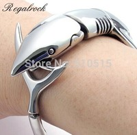 Regalrock 316 Titanium Stainless Steel Ocean Jewelry Jaws White Shark Bracelet