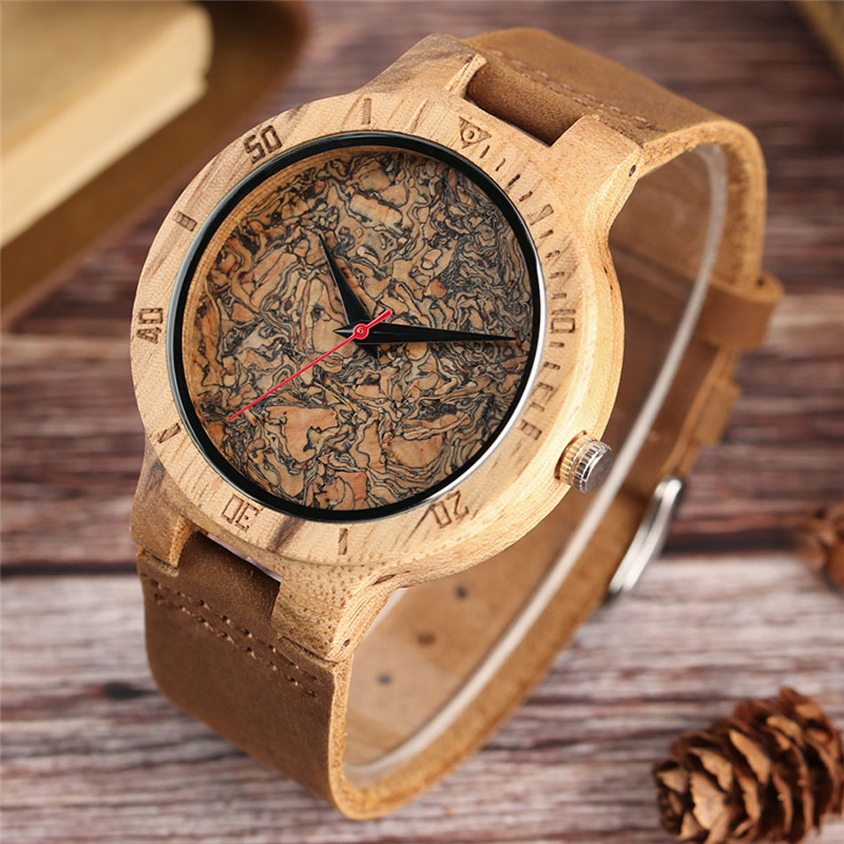 Men Wooden Wrist Watch Nature Sport Bamboo Simple New Arrival Genuine Leather Band Strap Quartz Watch (4)