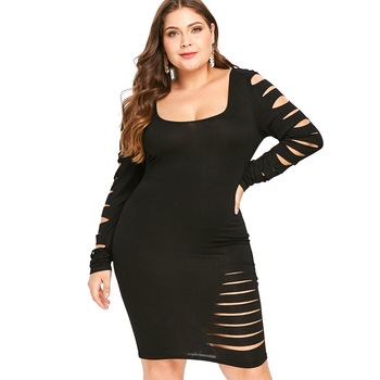 Plus Size Dress Ladder Cut Out Sleeve Ripped Solid Square Neck