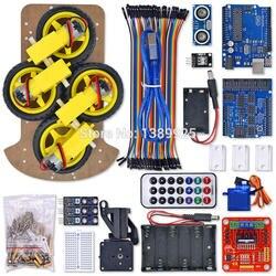 10 компл./лот Многофункциональный 4WD робот шасси автомобиля Наборы UNO R3 170 точек Mini макет для робот сборки автомобильный комплект бесплатная