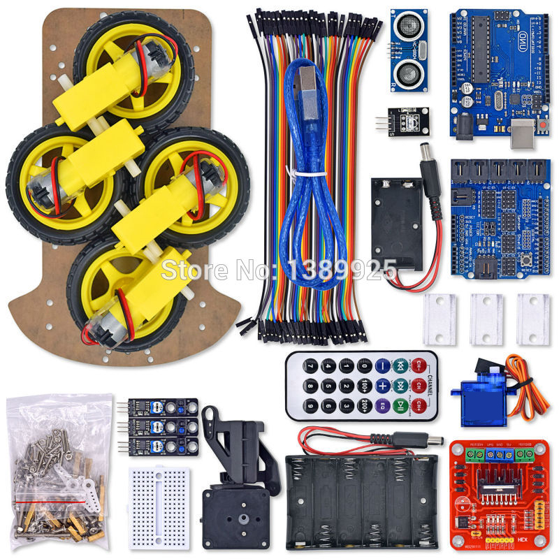 10set/lot Multi-Functional 4WD Robot Car Chassis Kits UNO R3 170 Point Mini Breadboard For Robot Car Assembly Kit Free Shipping