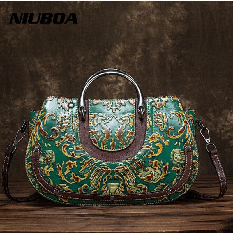 NIUBAO Vintage Handbags Fashion Embossed Genuine Leather Handbag Shoulder Messenger Bag Cowhide Leather Ladies Messenger Bags