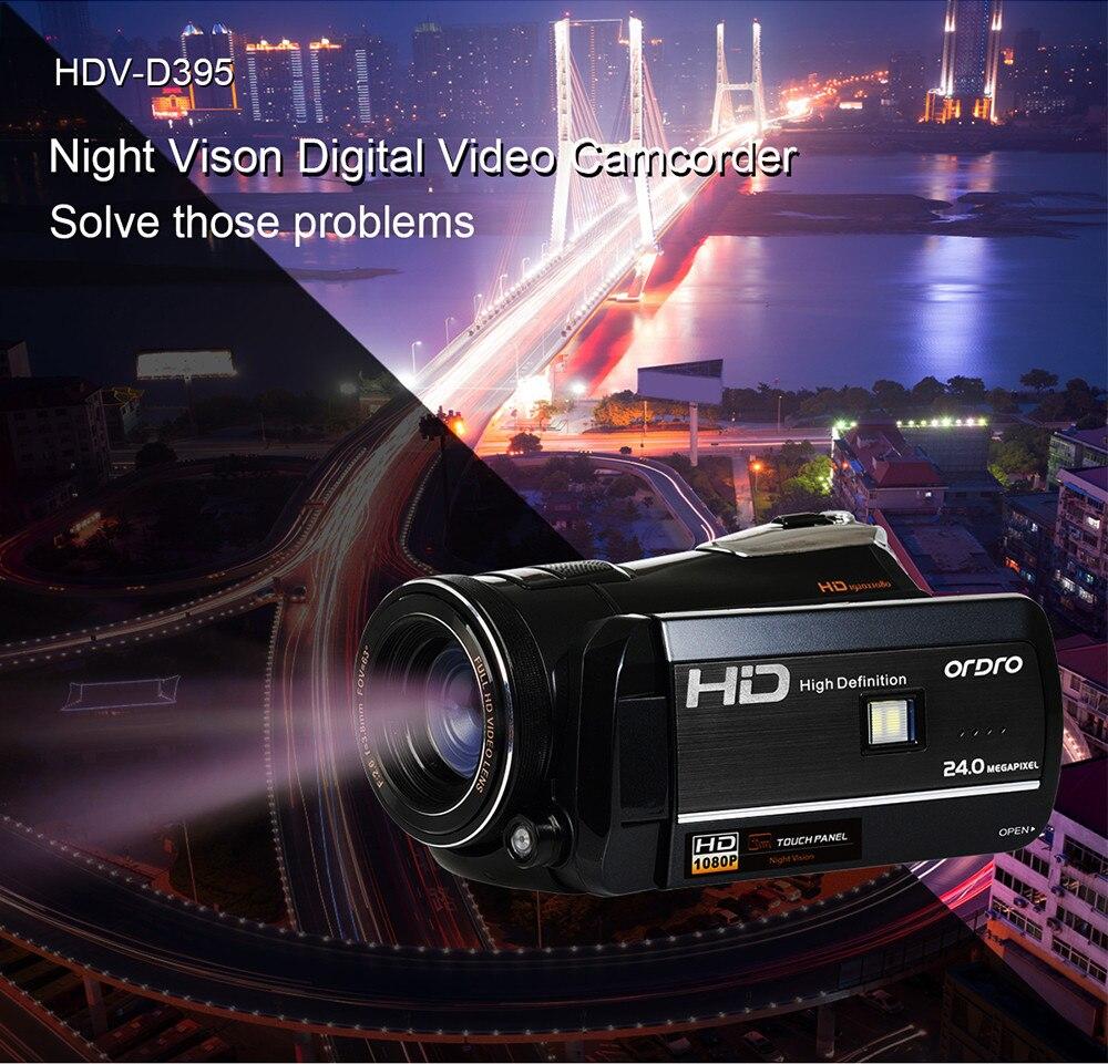 ORDRO HDV-D395 18X Zoom Numérique 1080 p FHD Caméscope avec Large Angle de Vision Nocturne WIFI APP Supprimer Le Contrôle DV appareil Photo numérique