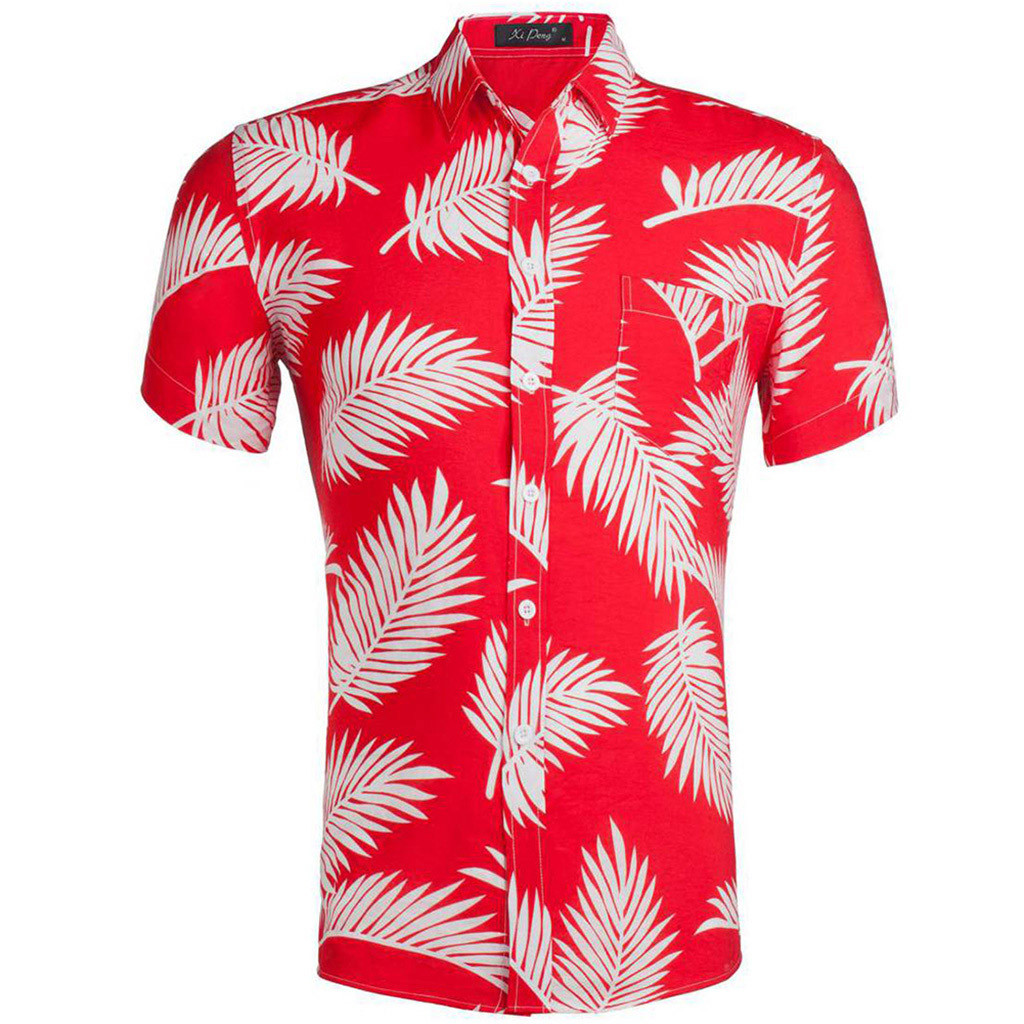 Hot 2019 Summer Casual Fashion Mens 3D Color Red Print Trend Color Short-sleeved Shirt Blouse Man Printed Shirts High Quality