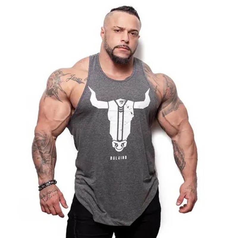2019 New Mens Bodybuilding Skinny   Tank     top   Gyms Fitness Cotton Sleeveless Shirt Crossfit Clothing Male Summer Singlet Undershirt