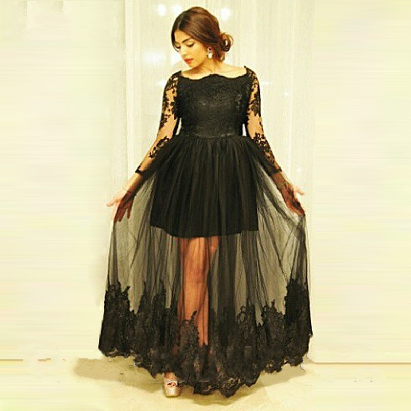 dc9a0b5e928f Sexy Black Long Sleeve Evening Dresses 2019 Tulle See Through Plus Size Long  Masquerade Prom Dresses For Woman Custom Made-in Prom Dresses from Weddings  ...