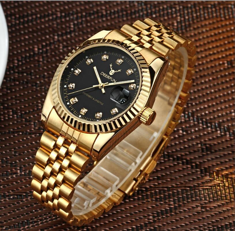 a94a3296fb 2017 papel de Ouro Relógio de Quartzo Homens Relógio TopBrand DEERFUN  WatchesGolden Hodinky Relogio masculino quartzo relógio de Pulso de Luxo em  Relógios ...