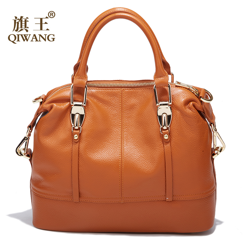 Image 4 - QIWANG Women's Bags Genuine Leather Roomy Bowling Hand bag Full Grain Cowhide Handbags Ladies Fashion Purses for Commuting&Party-in Top-Handle Bags from Luggage & Bags