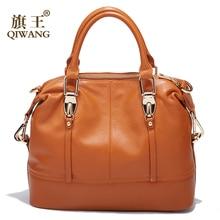 QIWANG Womens Bags Genuine Leather Roomy Bowling Hand bag Full Grain Cowhide Handbags Ladies Fashion Purses for Commuting&Party