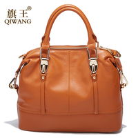 QIWANG Women's Bags Genuine Leather Roomy Bowling Hand bag Full Grain Cowhide Handbags Ladies Fashion Purses for Commuting&Party