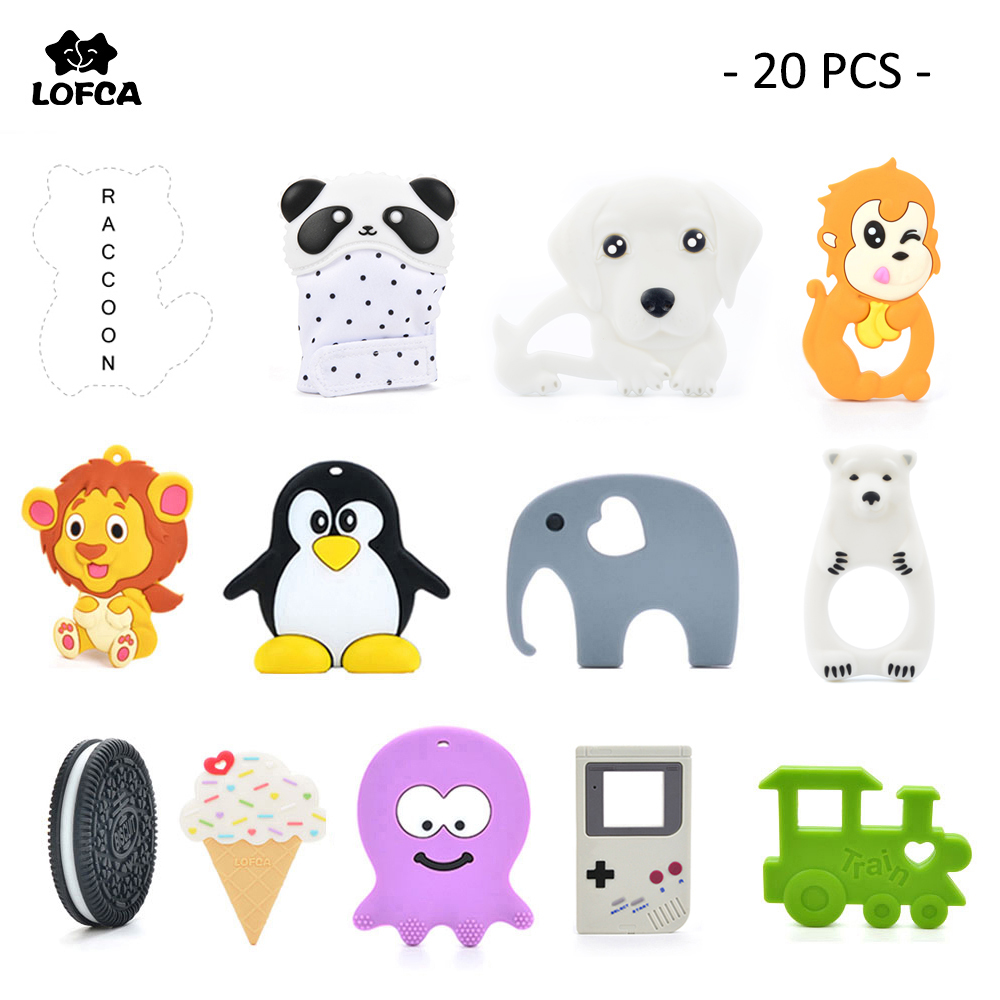 20pcs/lot Silicone Teether Giraffe Teething Pendant Biscuit Baby Teether Penguin Silicone Teething Chew Toys For Baby