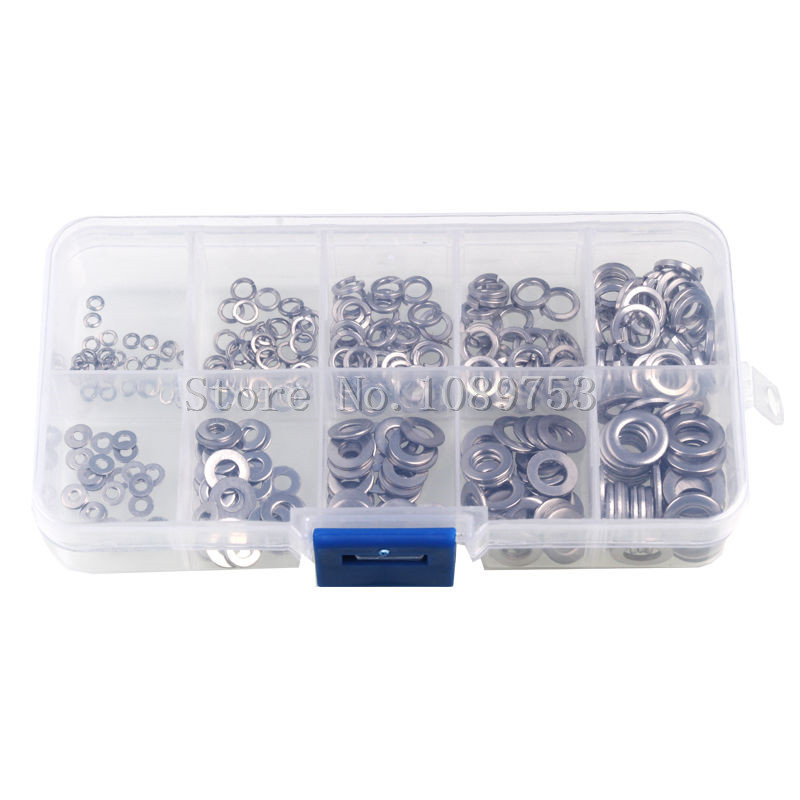 цена на 300PCS 2mm 3mm 4mm 5mm 6mm Assorted Stainless Steel Flat Spring Lock Washer Set