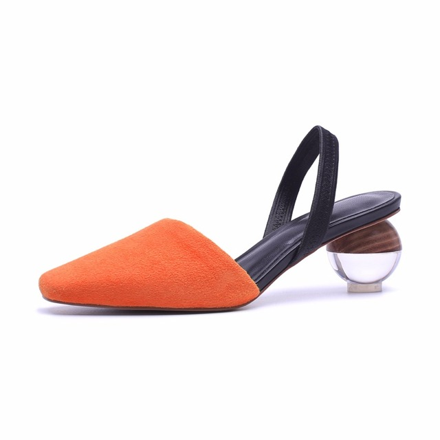 Maguidern Brand Pu And Suede Slingbacks Ankle Wrap Slingback Pumps  Spherical Wooden Heel Sandals Women