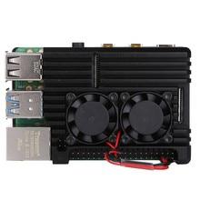 Raspberry Pi CNC чехол из алюминиевого сплава корпус охлаждающий вентилятор теплоотвод для Raspberry Pi 4 Модель B 3B 3B