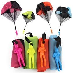 Conjunto 5 Paraquedas Educacional das Crianças Mão Jogando Paraquedas de Brinquedo Para Crianças Com a Figura do Soldado Ao Ar Livre Esportes Diversão Jogar Jogo
