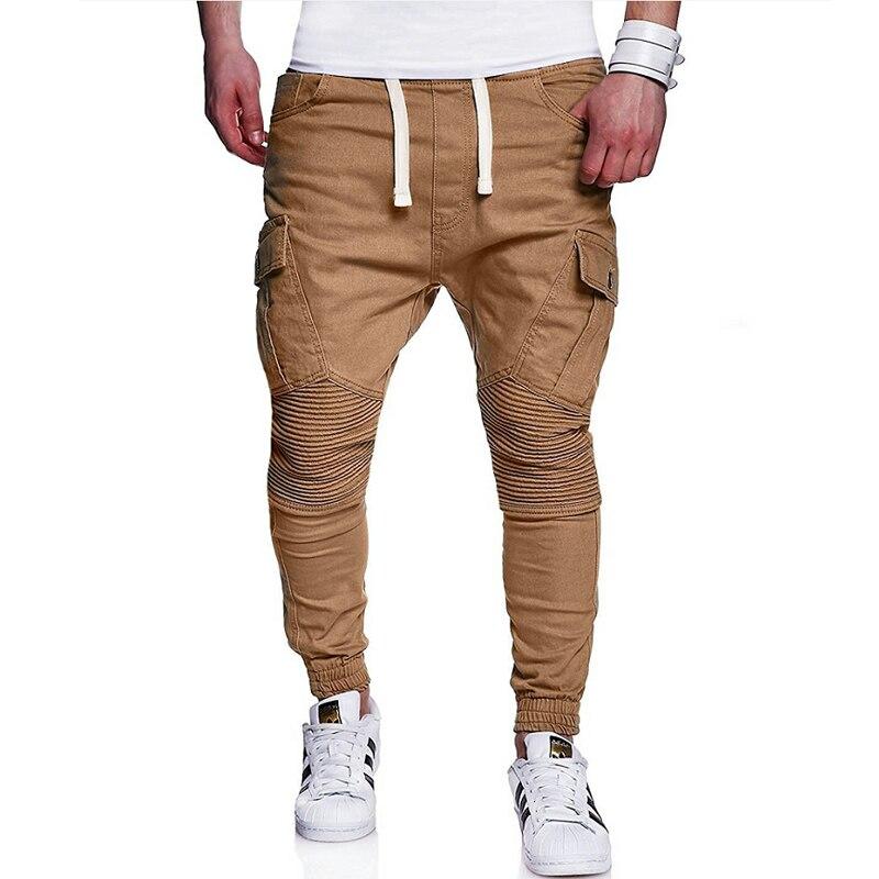 Hombre Pantalones 2018 hombre marca hombres pantalones caqui pantalones largos doblez Sweatpants Jogger Tracksuit Funky pantalones gran tamaño 4XL