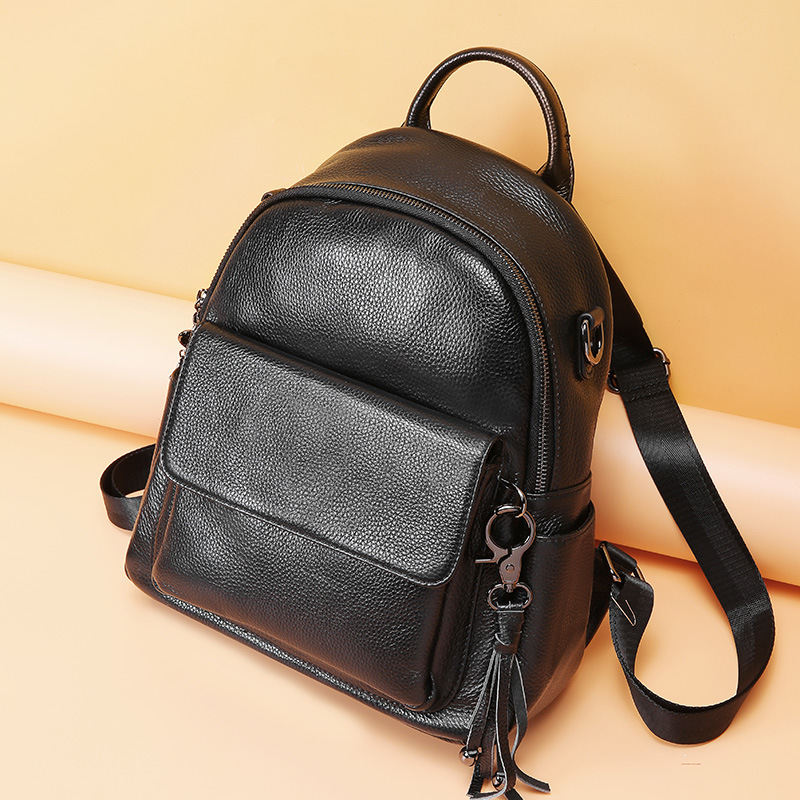 Womens Backpack Real Leather Female Backpacks With Tassel Preppy Style Backpack For Girls School Bag Travel Bag sac a dos hommeWomens Backpack Real Leather Female Backpacks With Tassel Preppy Style Backpack For Girls School Bag Travel Bag sac a dos homme