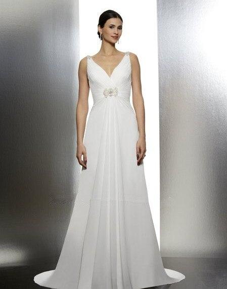 vestido de noiva 2018 elegant chiffon A-line features V-neck dramatic cowl flattering heavily beaded medallion   bridesmaid     dress