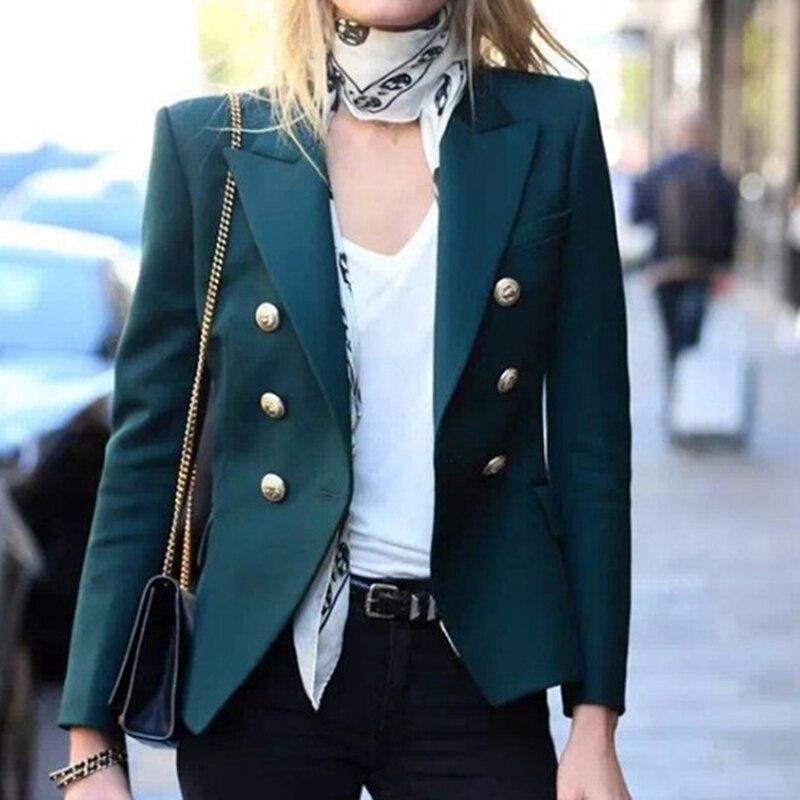 Boutons en métal Blazers femmes Double boutonnage mode 2019 automne printemps élégant Blazer veste basique outwear manteaux Cool style