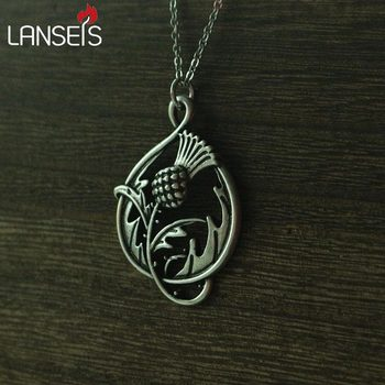 lanseis 20pcs Scottish Thistle Double-Sided CannibalPlant pendant necklace plant it's inspired by the Scottish national emblem