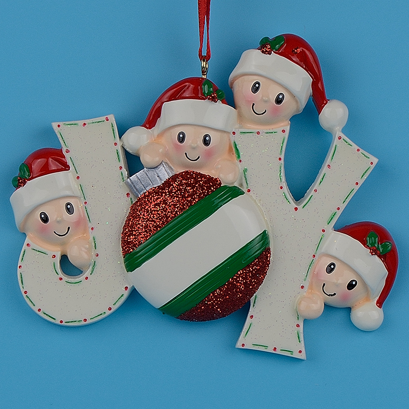 956152c8dc7 Joy Family Members of 4 Polyresin Glossy Accents Personalized Christmas Tree  Ornaments For Home Decoration-in Pendant & Drop Ornaments from Home &  Garden on ...