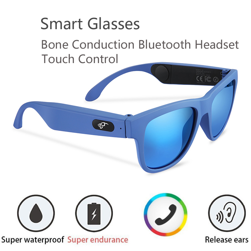 2019 Newest G1 Bone Conduction Headset Smart Glasses Touch Control Health Sports Wireless Headphones With Microphone