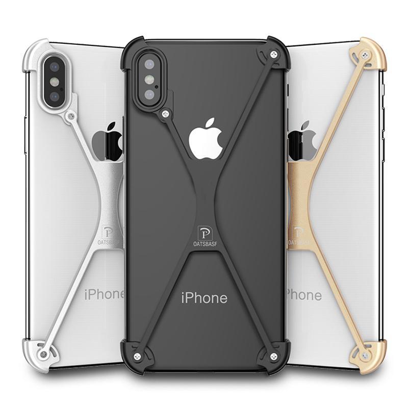 X Shape Iphone X Case Personality Shell For Iphone X Metal Bumper Cover Case With Gift Glass Film 5.8 Inch