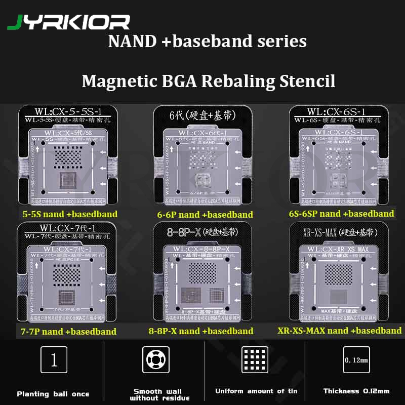 Jyrkior Hard Disk NAND Baseband IC Chip Plant Tin Steel Mesh BGA Reballing Stencil Template For IPhone 5 5S 6 6s 7 7P XR-XS-MAX