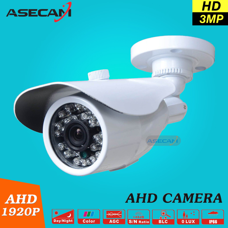3MP HD Full 1920P System Security Camera White Metal Bullet CCTV Day/night Surveillance AHD Camera Waterproof 24led infrared zоом 3 day white with acp excel 3