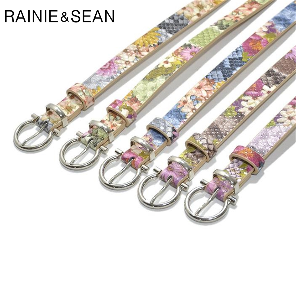 RAINIE SEAN Leather Belts For Women Print Flower Pin Buckle Ladies Waist Belt For Trousers Female Brand Purple Waist Thin Belt in Women 39 s Belts from Apparel Accessories