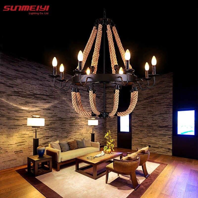 Vintage Corde Pendentif Lumières Lampe Loft Creative Personnalité Lampe Industrielle Edison Ampoule American Style Pour Salon décoration