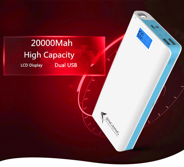 100% Original JINGXING 20000mAh Mobile Portable Power Bank Dual USB Charging External Battery Charger with LCD Flashlight