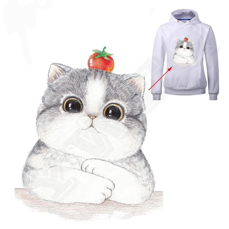 Szép macska minta 25 * 20 cm-es javítások Vasaló matricák Hőátviteli vasaló ruhák A-plus mosható applikációkhoz
