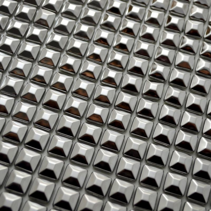 Aliexpresscom buy self adhesive pyramid stainless steel for Stainless steel backsplash tiles self adhesive
