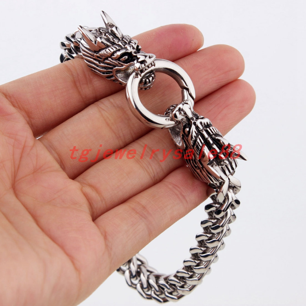 Granny Chic Western Style Dragon Clasp Stainless Steel Figaro Rolo Chain  Bracelet Cool Men's Cuff Jewelry Silvercolor