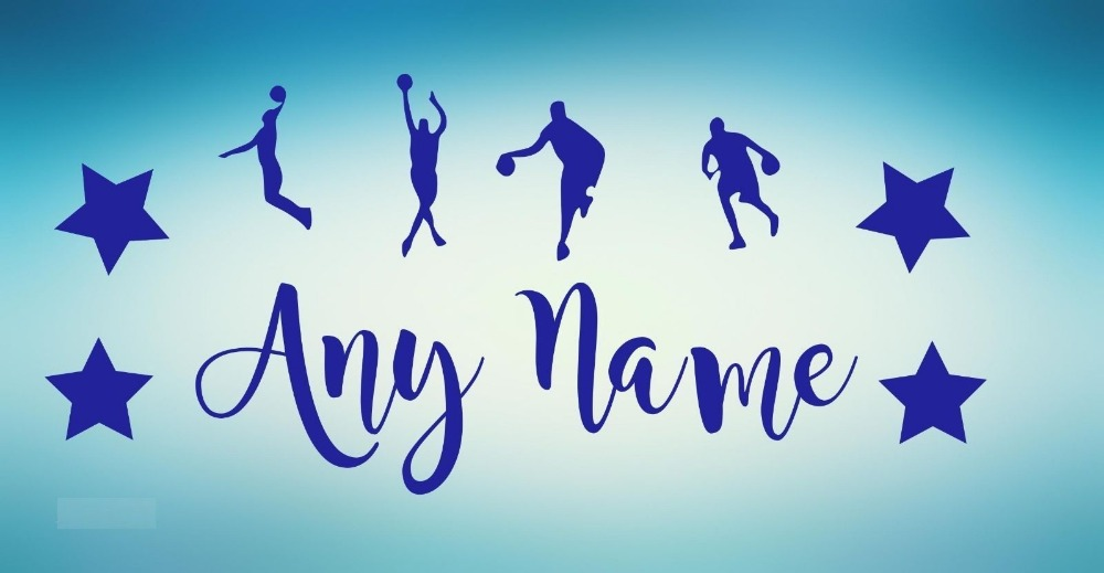 Personalised Name Basketball Player Wall Stickers For Boys Bedroom Baby Wall Decals DIY New Design Nursery Wall Art Mural JW166