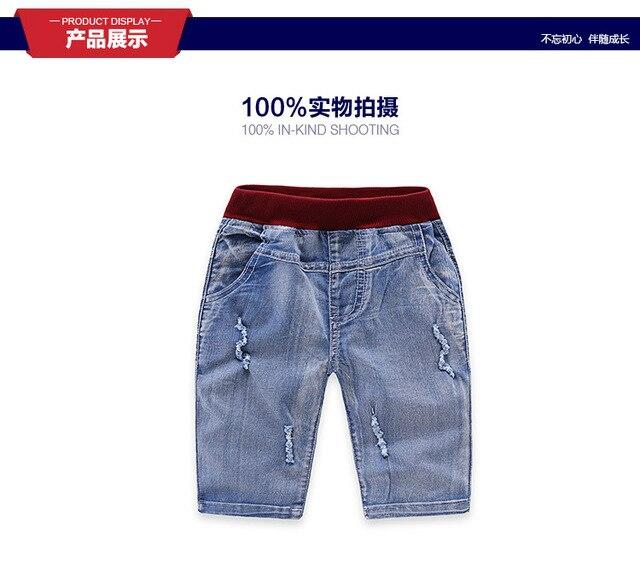 Синий мягкие джинсовые брюки мальчиков джинсы детские джинсы детские повседневные брюки лето осень брюки мода не выцветают новый половина брюки